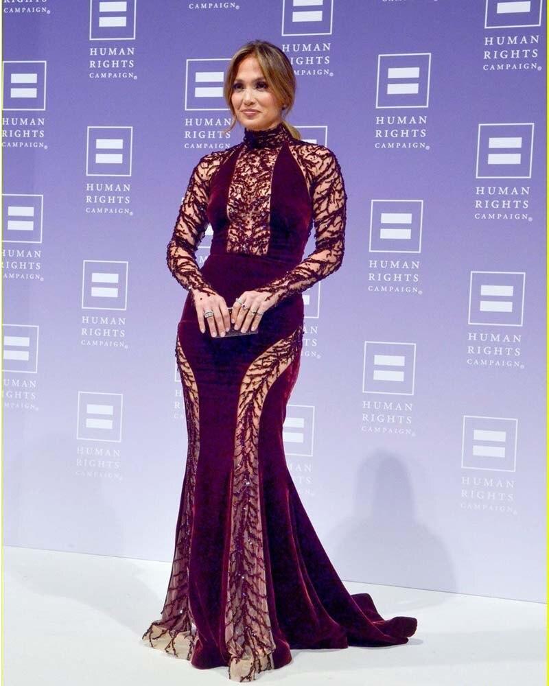 Hot Jennifer Lopez Celebrity Dresses 2016 High Collar Beaded Tulle Velvet Sheer Back Long Sleeve Mermaid Evening On Aliexpress Alibaba Group