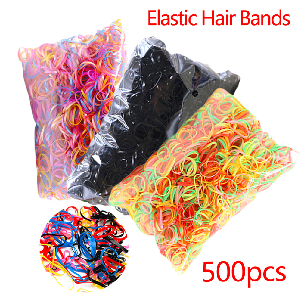 Grils' Elastic Hair Band About 500pcs/pack Mix Color Rope Tie Gum Ponytail Holder TPU Rubber Headwear Hair Accessories For Women new 10pcs women lady hair band velvet elastic ponytail tie bow rubber bobbles lovely