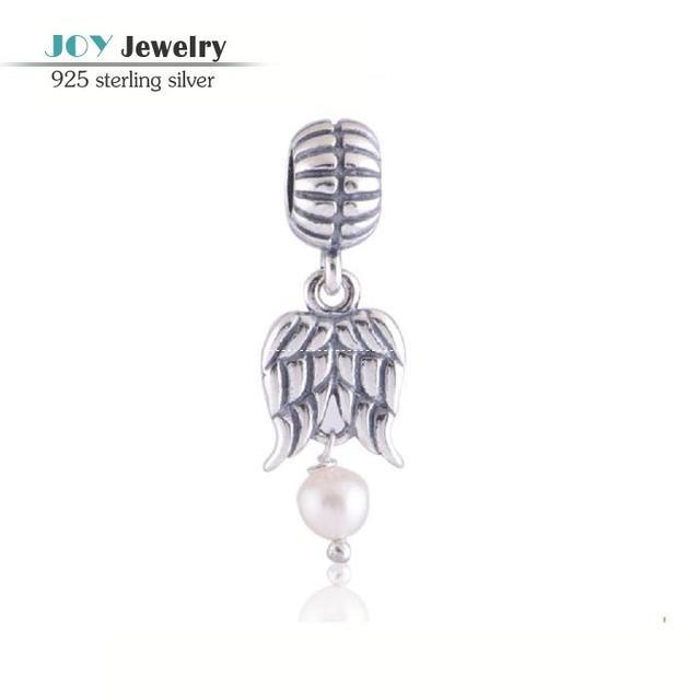925 prata pérola de água doce pingente de anjo asas encantos Fit europeu marca pulseiras DIY Antique Silver Wing charme LW108