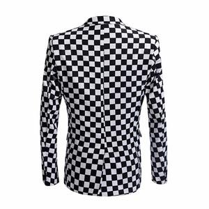 Image 3 - SHENRUN Fashion Suit Men Black White Plaid Print 2 Pieces Set Latest Coat Pant Designs Wedding  Stage Singer Slim Fit Costume