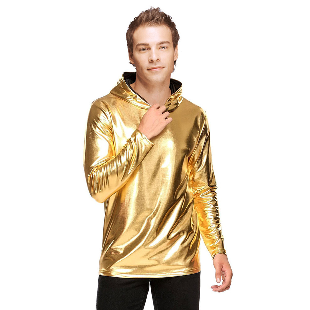 Takerlama Men 2018 New Long Sleeve Metallic Shiny Tee Shirt Shiny Hooded T Shirt Home Night Club Wear Mens Hoodies Party Wear