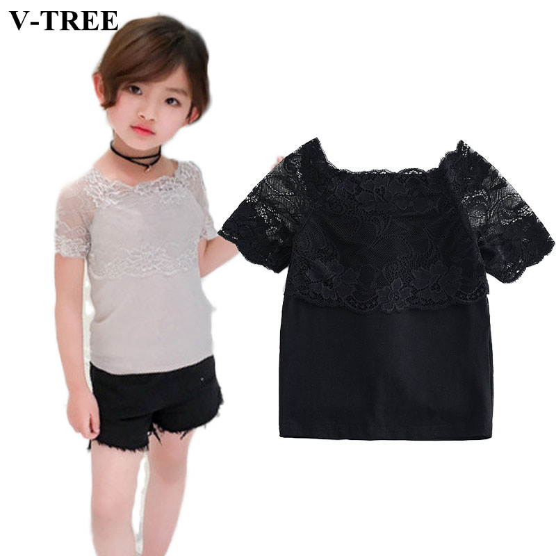 Summer Girls T-shirt Lace Tops For Girl 3-12yrs Teenager Blouse Kids Tshirt Clothing ...