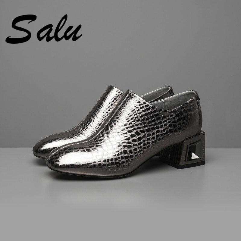 Salu 2019 plus size 33 43 spring elegant office lady women Shoes Woman high heels pointed