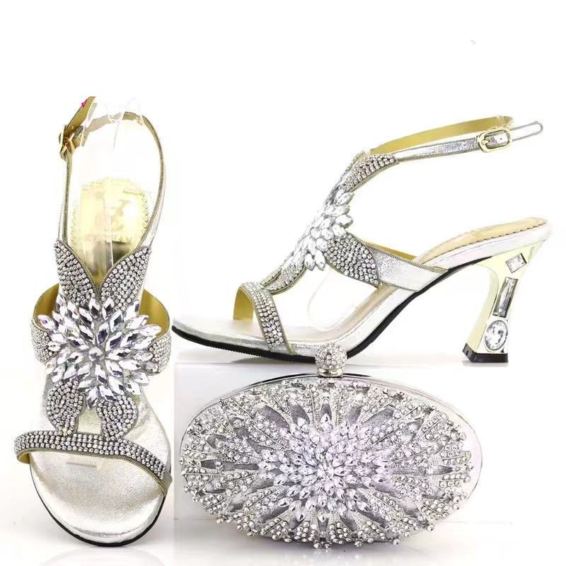 d54ab467125f0 Hot Sale Silver Wemon Pumps Match Handbag Set With Big Crystal for African  Shoes And Bag