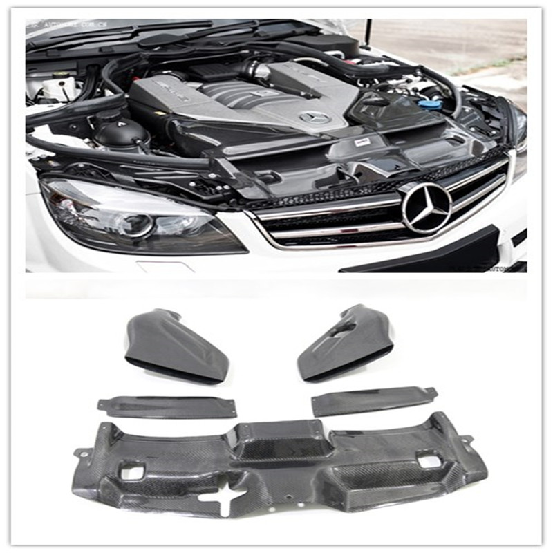 Carbon Fiber Automotive Bellows Air Filter Intake System Cover For Mercedes Benz W204 Facelift C63 AMG Only 2012-2014 3PCS/Set