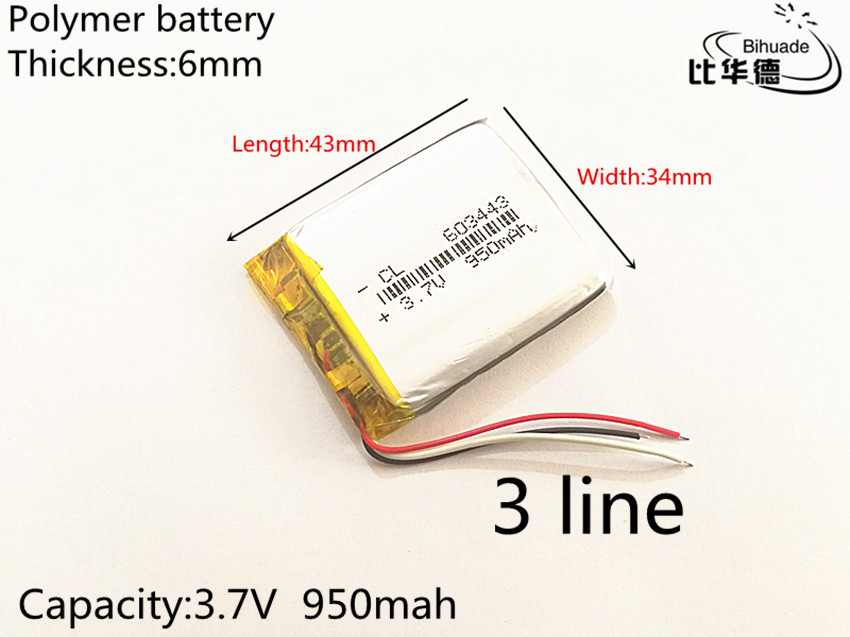 3 line 603443 3.7V 950MAH Original Battery GPS navigation built- in lithium polymer battery 3 7v lithium polymer battery 584070 2400mah electronic products built