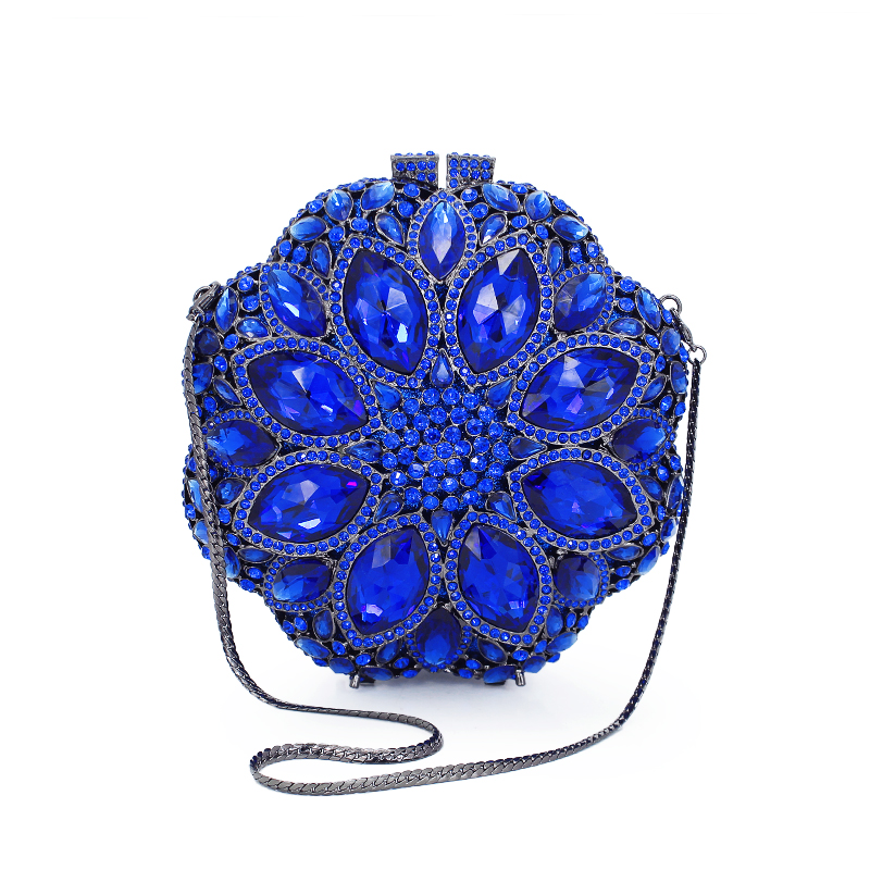 9 Colors Women Bags Party Purse Wedding Clutches Evening Bag Rhinestone Crystal Clutch Floral Hard Metal Handbag(8795A-P)