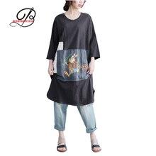 Borisovich 2017 New Arrival Cartoon Patchwork Knee-length Dress Loose Casual Plus Size Women Summer Cotton Dresses M576