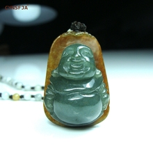 certified natural a grade burmese emerald jadeite charms lucky buddha jade pendant ice green high quality hand carved best gifts Rare Certified Natural A Grade Burmese Emerald Jadeite Charms Lucky Buddha Jade Pendant Green Yellow High Quality Hand Carved