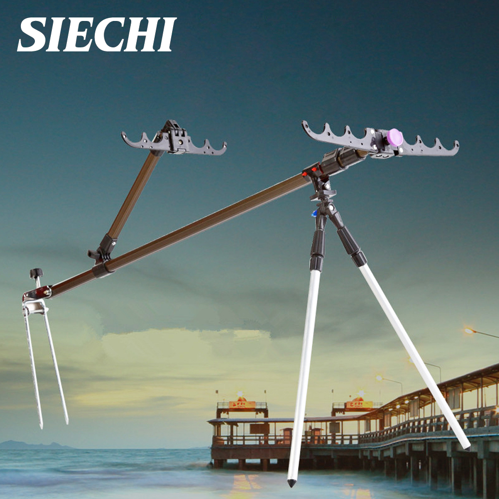 SIECHI Fishing Equipment Telescopic Fishing Rods Holder Stands Folding Aluminum Alloy For Hand Carp Fishing Rods