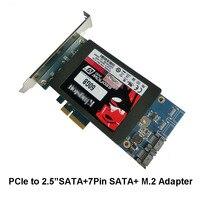 Free shipping x4 PCIe to 2.5 SATA 3.0 +SATAIII M.2 SSD RAID Card HyperDuo SATA port multiplier 88SE9230 EXPANDING HEAT SINK