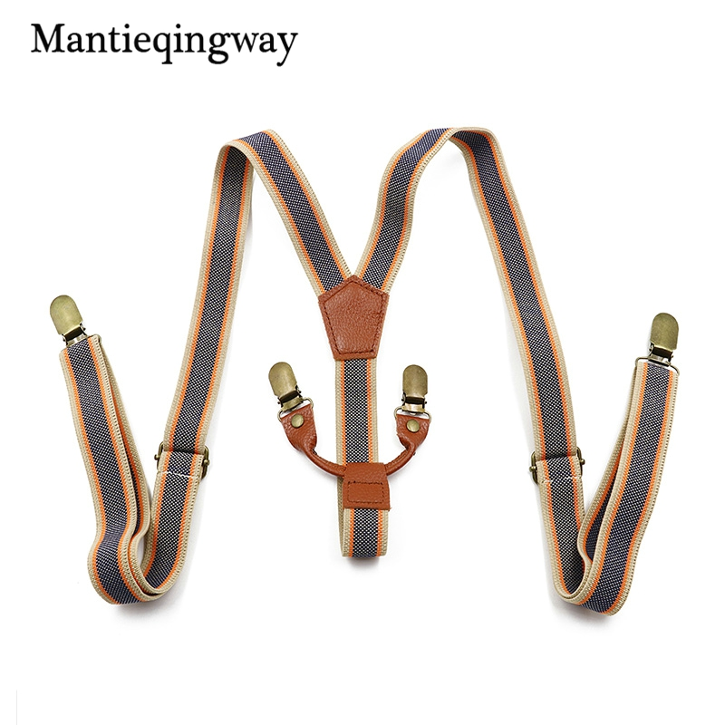 Mantieqingway Mens Orange Suspenders 4 clips Strap Wedding Adjustable Button Braces Elastic Women PU Leather Suspenders Belt