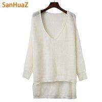 SanHuaZ Brand 2017 Autumn Winter Women S Sweaters Casual V Neck Long Sleeve Irregular Hem Women