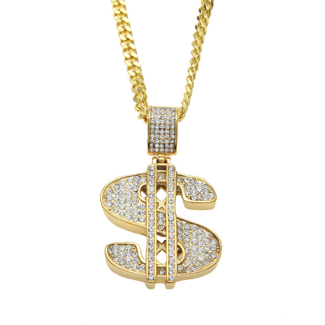 Classic Women Men Hip Hop Golden Bling Full Rhinestones Dollar   Sign Necklaces  Pendants Rapper Crystal Jewelry Gifts Chokers ceb085db6