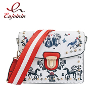 White Cartoon Print Graffiti Fashion Pu Leather Ladies Shoulder Bag Handbag Flap Purse Women S Crossbody