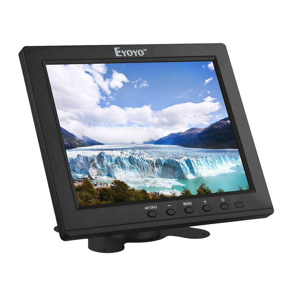 Eyoyo S801H86 Portable 8 inch IPS LCD Video Audio HDMl Cinema Display Monitor BNC VGA for PC CCTV DVR Security eyoyo g08 160 degree 8 inch 400 1 tft lcd monitor screen 4 3 1024 768 hdmi av vga video audio for cctv fpv with loudspeaker