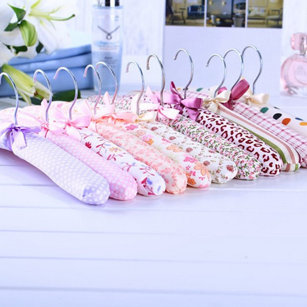 New 1Set/5pcs Hook Sponge Cotton Satin Padded Coat Clothes Suit Dress Hangers Rack