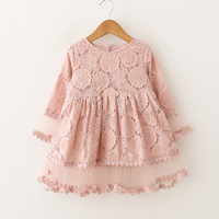 2018 Kids Girls Lace Flower Pattern Dress High Quality Design Baby Girl Party Dresses Children Summer