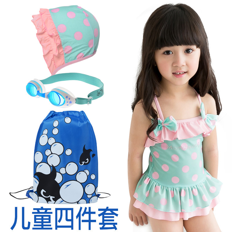 Free Shipping Bathing Suit Children 2 10 Year Old Girl Conjoined Bikini -8886