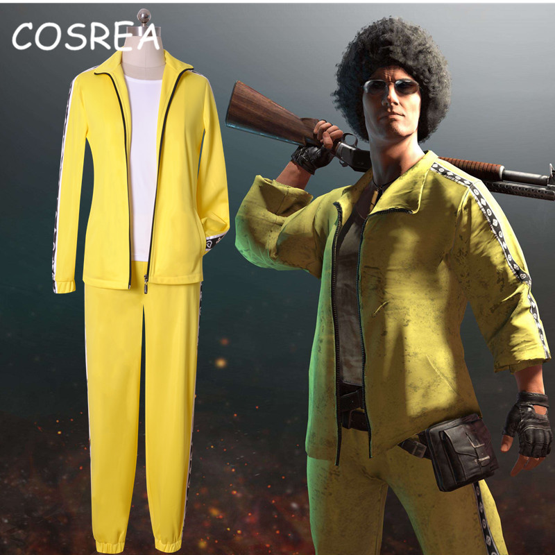 Game PUBG Playerunknown's Battlegrounds Cosplay Costume T-Shirt Yellow Sets Coat Tshirt Pants For Men Women Adults Halloween