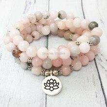 MG0476 2019 Hot Sale 8 mm Rose Stone 108 Mala Bracelet Lotus Chakra Yoga Women`s Necklace Spiritual Practice Jewelry