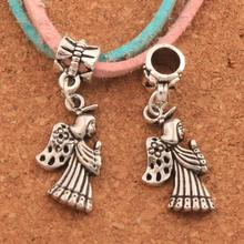 Praying Angel With Flower Wings Big Hole Beads 19PCS Antique Silver Fit European Bracelets Jewelry DIY B102 33.2x11.7mm