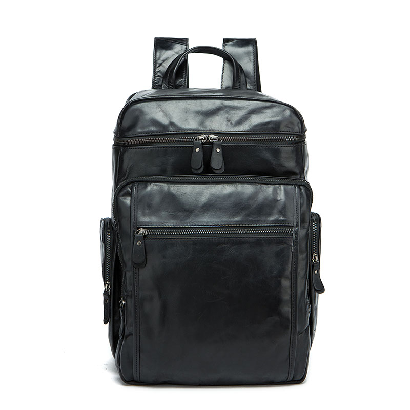 2018 New Fashion Casual Leather Travel Bag Large Capacity Men's First Layer Leather Backpack Computer Bag Wearable Backpack