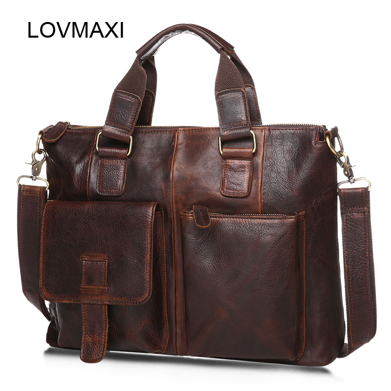 ФОТО LOVMAXI 100% Cow Leather Men's Crossbody Bags Vintage Casual Large Male Messenger Bags Business Bag Crazy Horse Leather Handbags