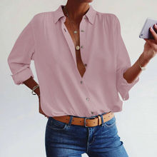 Summer Casual Blouses 2019 New Women Solid Spring Long Sleeve Turn-down Collar Loose Blouse