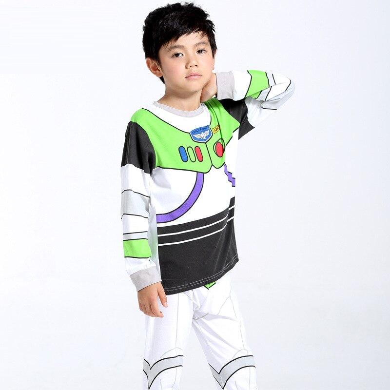 Cartoon Printed Pattern Kids Set Pajamas Set Boys Sleepwear Boys Clothes Kids Pjs Tiny Cottons Long Sleeve Top Boy Pants 2Pcs 6Y