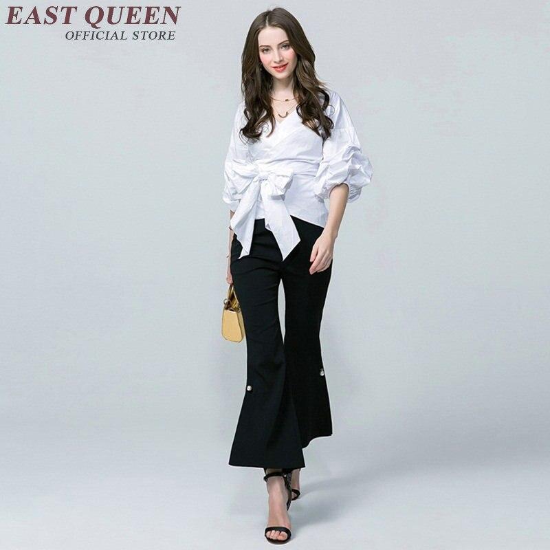 Haute qualité femmes mode 2018 été femmes blouse lanterne manches chemise blanche femme taille cravate haut en coton t-shirts NN0266 HQ
