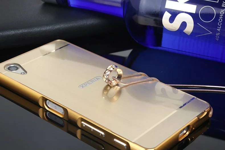 sale retailer 7caf6 e5193 US $4.99  Aluminum Mirror Metal Brushed Bumper Frame Phone Case For Sony  Xperia X Performance Gold Plating Hybird PC Cover Funda Coque on ...