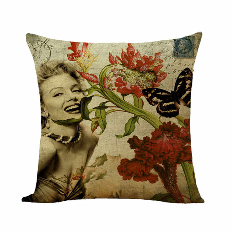 Funda de cojín con patrón de pájaro de flores funda de almohada de lino de algodón de alta calidad funda de almohada decorativa