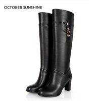 אוקטובר סאנשיין חדש נשים חורף מגפי רכיבת מגפיים בגובה הברך אופנה מגפי אביר רוכסן צד גבוה בתוספת גודל 30-45