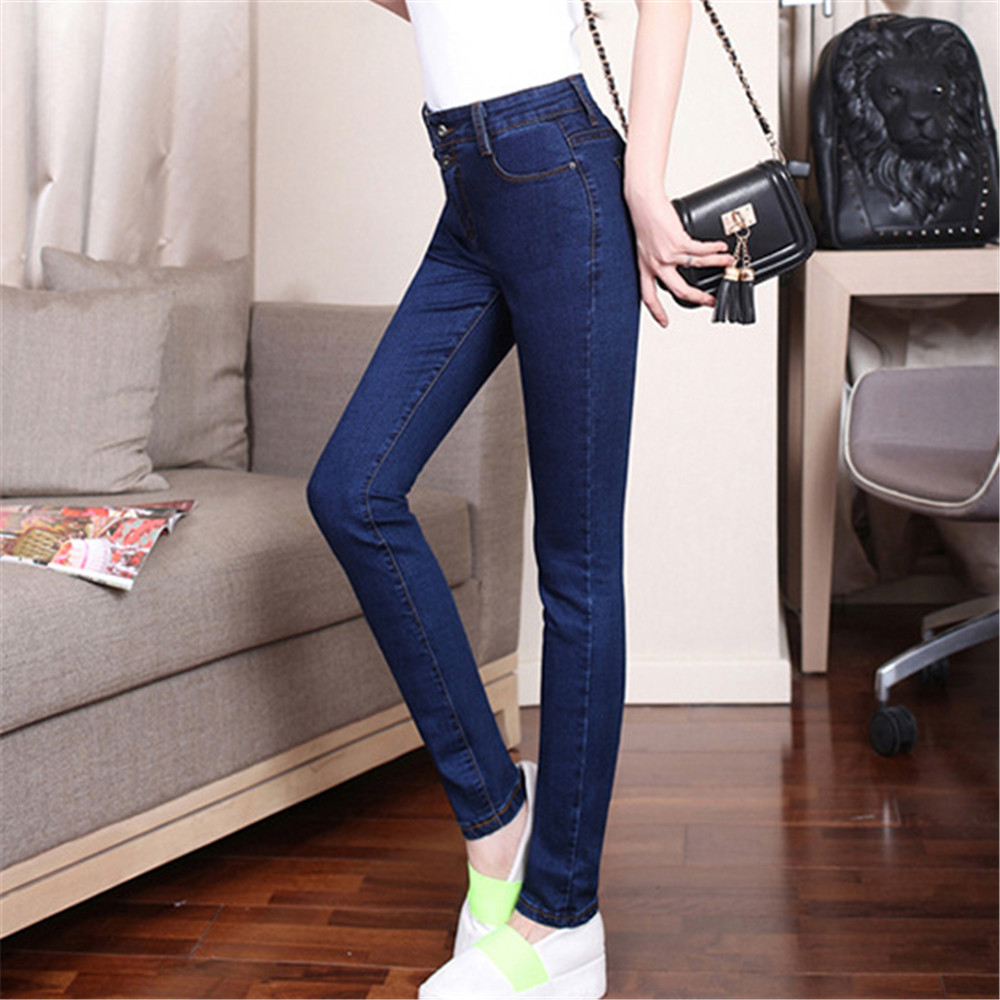 High Waist Jeans Woman Plus Size Mom Cotton Elastic Force Abdomen Small Foot Women Jeans Mujer Jean Femme Denim Spodnie Damskie