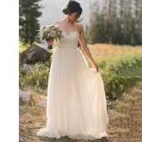 Simple Chiffon Appliques Long Beach Wedding Dresses Sweetheart A line Summer Informal Reception Bridal Gowns Custom Made