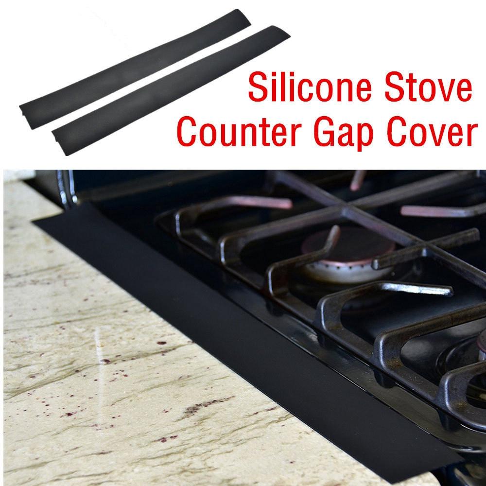 4pcs stove top burner cover gas range protectors 2pcs stove counter gap cover black silicone. Black Bedroom Furniture Sets. Home Design Ideas