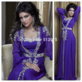 2016 purple chiffon beaded dubai Arab Muslim Turkey long evening dress evening dress Turkish robes KSDN786
