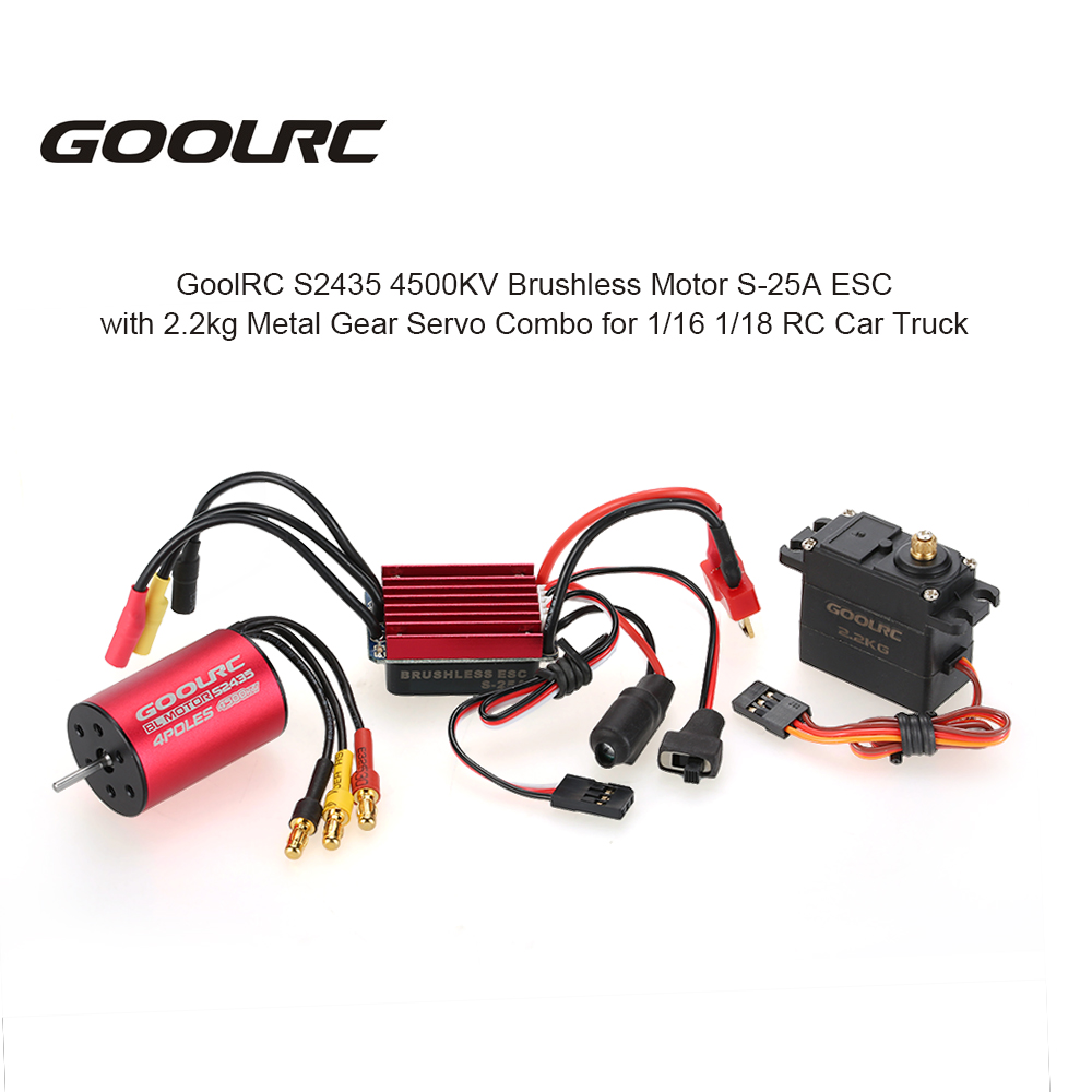 GOOLRC S2435 4500KV Brushless Motor S-25A ESC with 2.2kg Metal Gear Servo Upgrade Brushless Combo Set for 1/16 1/18 RC Car Truck бензиновая пила alpina a 4500 18 223542