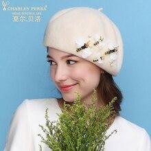 Charles Perra Brand Spring Autumn Lady Berets New 2017 Women Wool Hats Warm Fedoras Casual Elegant Fashion Beret Hat 8528