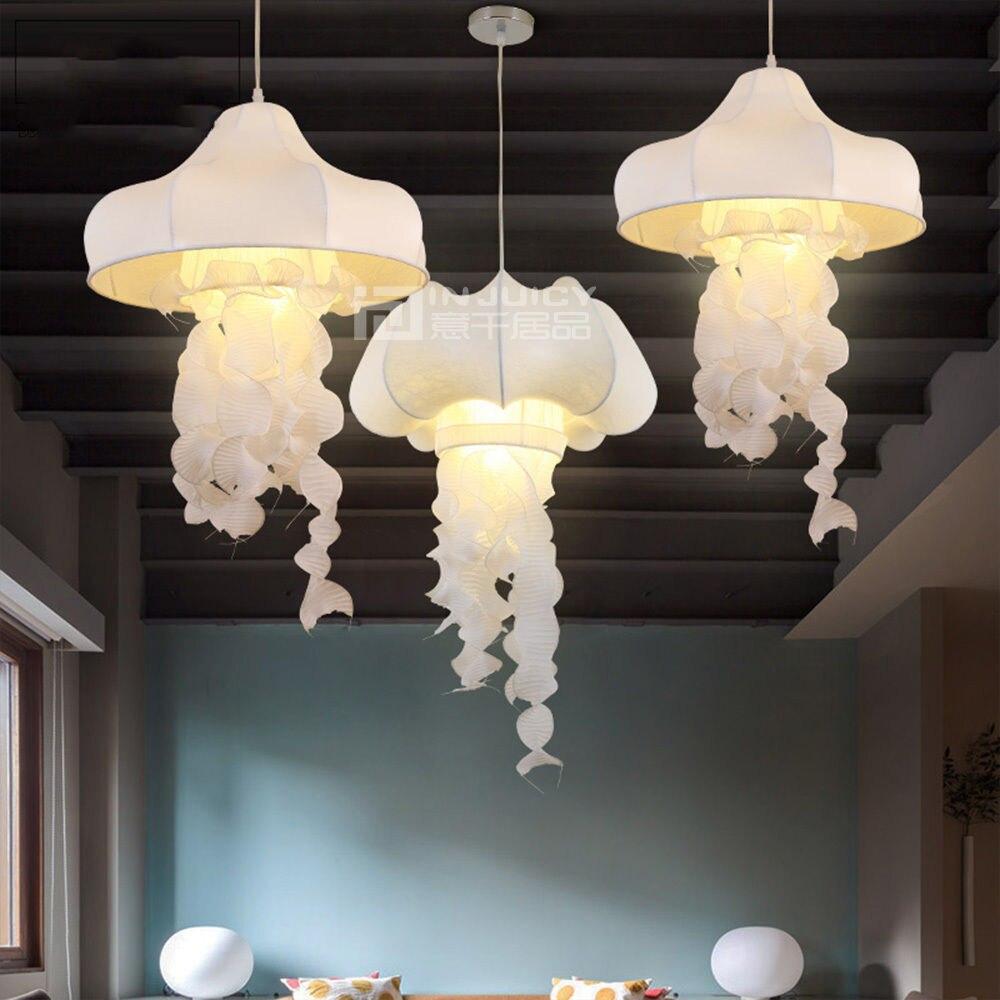 Creare Un Lampadario Di Stoffa us $128.25 5% di sconto|moderno tessuto di seta medusa loft corridoio  lampada a sospensione droplight lampadario negozio di arredamento cafe