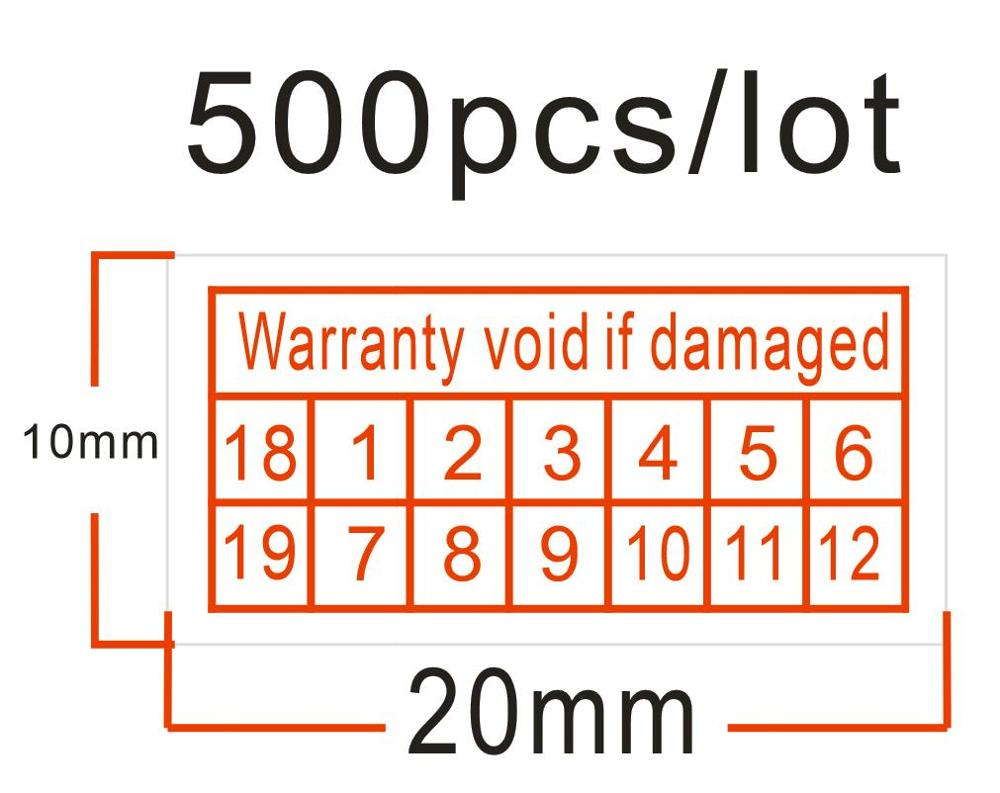 Factory Direct 500pcs/lot Universal Warranty sealing label sticker void if damaged, 18/19 years and months, 2x1cm Free shipping цена