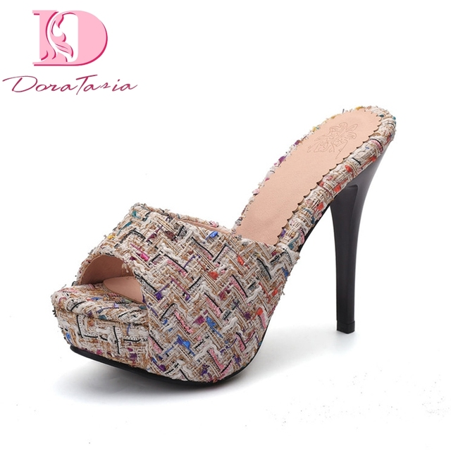 653543aaef6 DoraTasia Brand new Plaid Plus Size 33-43 Platform Summer Mules Pumps Shoes  Women Sexy High Heels women s shoes woman slippers