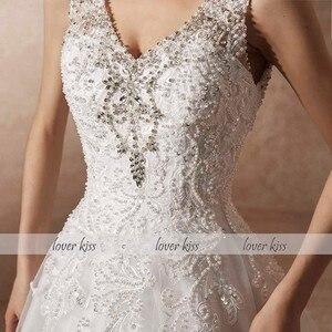 Image 5 - Amante beijo vestido de noiva de luxo com trem a linha strass pérolas v pescoço laço vestido de noiva robe de mariage