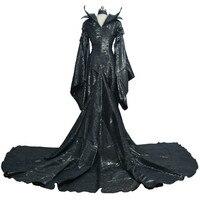 Новый на фильм «Малефисента» черная ведьма принцесса Maleficent косплэй нарядное платье карнавал костюмы на Хэллоуин для женщин XXS XXXL