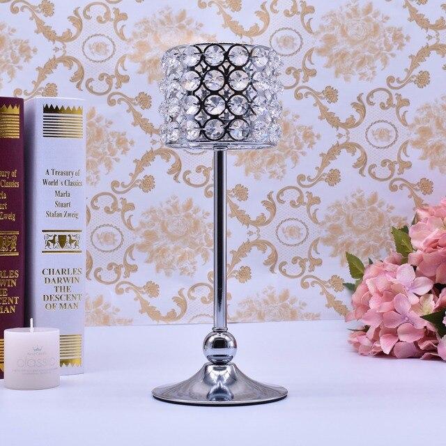 Peandim Luxury Crystal Silver Centerpieces Decoration Candle Holder Party Bar Home Romantic Candelabra Centerpiece 6