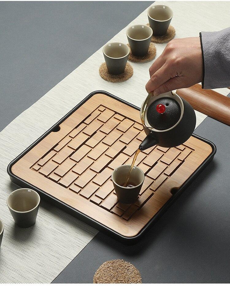 1 unid de bambú bandeja de té de agua de drenaje de Kung Fu té conjunto habitación mesa de té chino té taza ceremonia herramientas juego de té MF 027