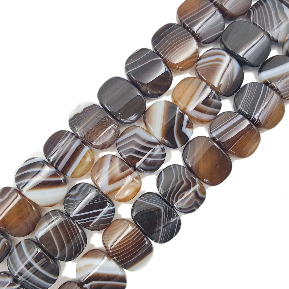 Lii Ji Natural Stone Brown Color Onyx Agate Oval Shape Beads Approx 15x20mm Loose Beads for DIY Jewelry 38cm