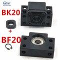 Шариковый винт с поддержкой BK20 BF20 для соответствия винтовым 25 мм SFU2505 SFU2510 SFE2525 шариковый винт концевой поддержки BK20/BF20 BKBF20 1 комплект