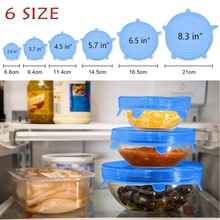 6 Pcs/Set Silicone Food Wrap Caps lids Saran Cookware Stretchable Fresh Covers For Seal Bowl Dishes Reusable Kitchen